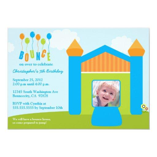 Fun bounce house birthday party photo invitation | Zazzle