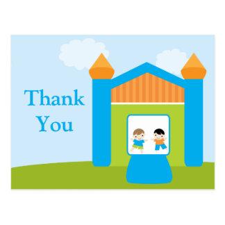 Fun bounce house boys thank you postcard