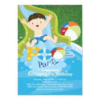 "Fun Boy Pool Birthday Party Invitation 5"" X 7"" Invitation Card"