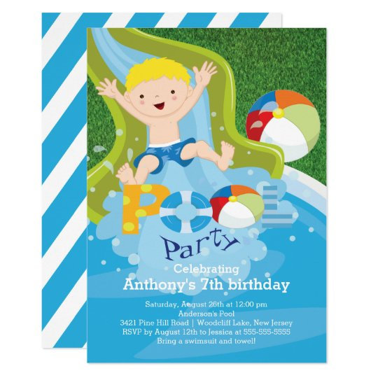 fun boy pool birthday party invitation zazzle com