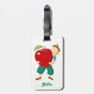 Fun Boy With Apple Kids Luggage Tag