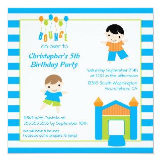 "Fun boy's bounce house party birthday invitation 5.25"" square invitation card"