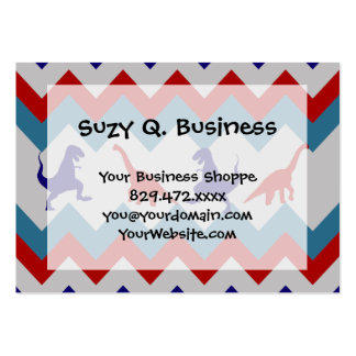 Fun Boys Dinosaurs Red Blue Chevron Pattern Large Business Cards (Pack Of 100)