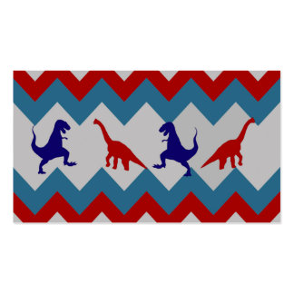 Fun Boys Dinosaurs Red Blue Chevron Pattern Double-Sided Standard Business Cards (Pack Of 100)