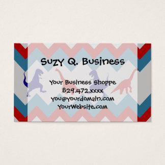 Fun Boys Dinosaurs Red Blue Chevron Pattern Business Card