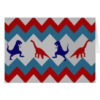 Fun Boys Dinosaurs Red Blue Chevron Pattern Card