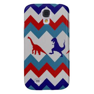 Fun Boys Dinosaurs Red Blue Chevron Pattern Galaxy S4 Covers
