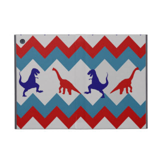 Fun Boys Dinosaurs Red Blue Chevron Pattern Cover For iPad Mini