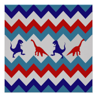 Fun Boys Dinosaurs Red Blue Chevron Pattern Personalized Announcement