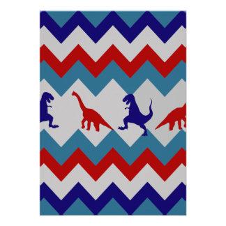 Fun Boys Dinosaurs Red Blue Chevron Pattern Personalized Invitations