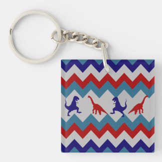 Fun Boys Dinosaurs Red Blue Chevron Pattern Double-Sided Square Acrylic Keychain