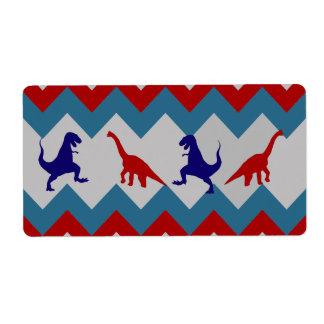 Fun Boys Dinosaurs Red Blue Chevron Pattern Label