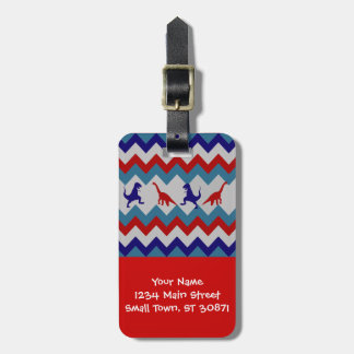 Fun Boys Dinosaurs Red Blue Chevron Pattern Luggage Tags