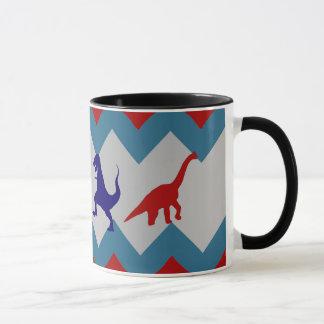 Fun Boys Dinosaurs Red Blue Chevron Pattern Mug