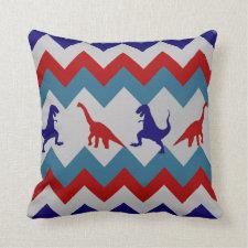 Fun Boys Dinosaurs Red Blue Chevron Pattern Pillow