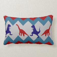 Fun Boys Dinosaurs Red Blue Chevron Pattern Throw Pillows