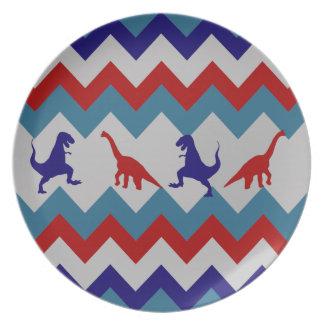 Fun Boys Dinosaurs Red Blue Chevron Pattern Plate