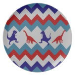 Fun Boys Dinosaurs Red Blue Chevron Pattern Plates