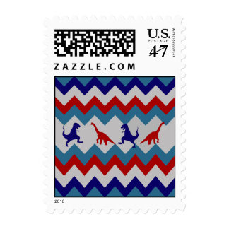 Fun Boys Dinosaurs Red Blue Chevron Pattern Postage