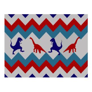 Fun Boys Dinosaurs Red Blue Chevron Pattern Post Card