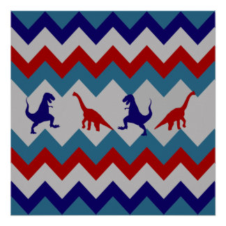 Fun Boys Dinosaurs Red Blue Chevron Pattern Poster