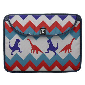 Fun Boys Dinosaurs Red Blue Chevron Pattern Sleeve For MacBooks