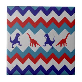 Fun Boys Dinosaurs Red Blue Chevron Pattern Tile
