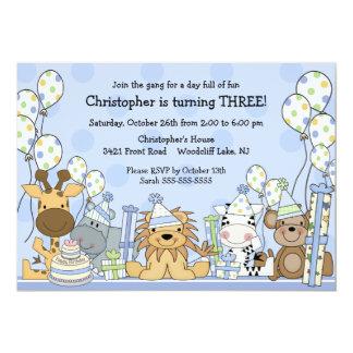 Fun Boys Safari Animals Birthday Card