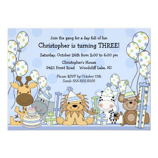 Fun Boys Safari Animals Birthday Personalized Announcement