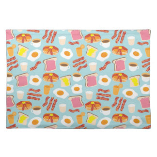 Fun Breakfast Food Illustrations Pattern Cloth Placemat