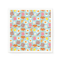 Fun Breakfast Food Illustrations Pattern Napkin