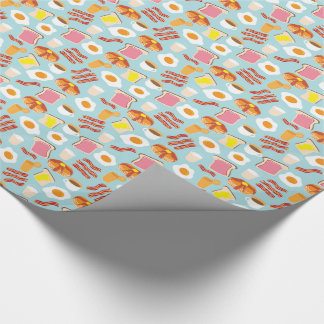 Fun Breakfast Food Illustrations Pattern Wrapping Paper