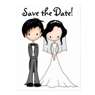 Fun Bride and Groom Cartoon Save the Date Postcard