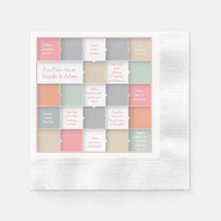 Fun Bride Groom Infographic Personalized Wedding Coined Cocktail Napkin