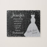 """Fun Bridesmaid Invitation Jigsaw Puzzle<br><div class=""""desc"""">A sweet and fun way to invite your friends to be your bridesmaid with this charming chalkboard and white wedding dress customized puzzle.</div>"""
