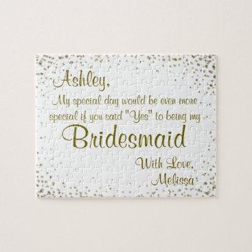 GlitterInvitations Fun Bridesmaid Invitation Jigsaw Puzzle