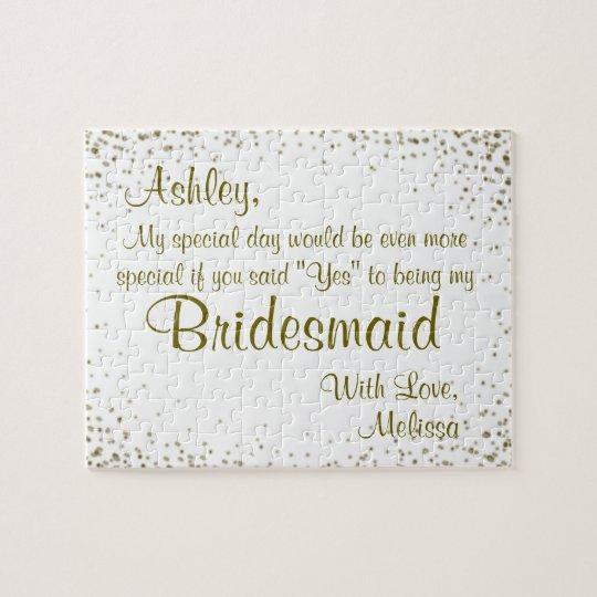 Fun Bridesmaid Invitation Jigsaw Puzzle Zazzle Com