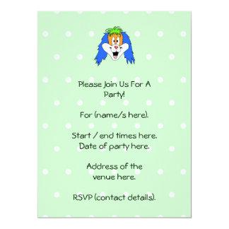 Fun Bright and Colorful Dog Cartoon. 6.5x8.75 Paper Invitation Card