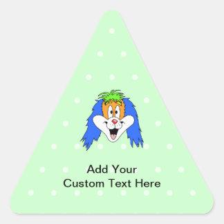 Fun Bright and Colorful Dog Cartoon. Triangle Sticker