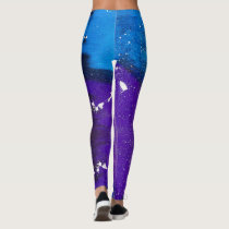 Fun Bright Blue Purple Galaxy Leggings