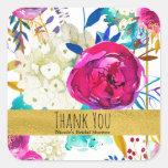 Fun Bright Bold Watercolor Floral Bridal Shower Square Sticker