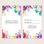 Fun Bright Bold Watercolor Floral Refer a Friend Business Card