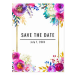 Fun Bright Bold Watercolor Floral Save the Date Postcard