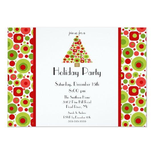 Fun Bright Christmas Tree Holiday Party Invitation