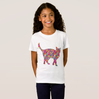Fun Bright Colorful Dynamic Heart-filled Cat T-Shirt