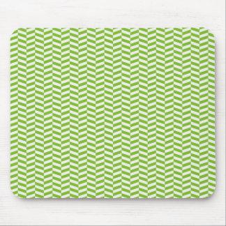 Fun Bright Green Chevron Pattern Mouse Pad