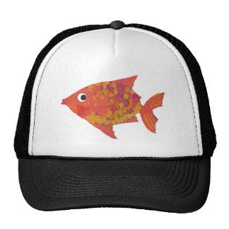 Fun Bright Orange Fish Black and White Trucker Cap Trucker Hat