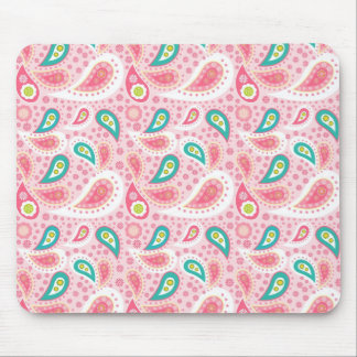 Fun Bright Pink and Teal Paisley Pattern Mouse Pad