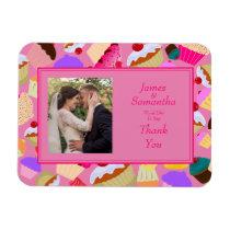 Fun, Bright Pink Cupcake  - Wedding Thank You Magnet