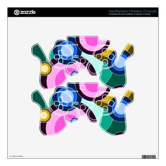 Fun & Bright Retro Circles Pattern PS3 Controller Decals